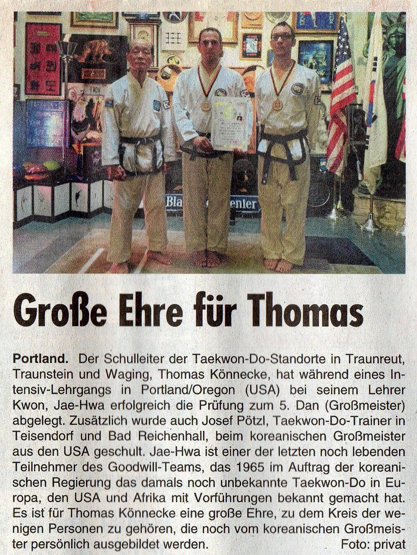 Taekwon-Do Großmeister aus Traunreut, Traunstein und Salzburg